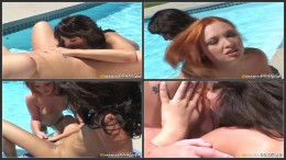 Lesbian Cougars On The Prowl, Poolside sex with a redhead
