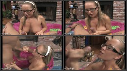 Handjob Spectacles, Cutie in glasses lubes cock