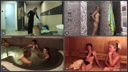 Mature ladies relaxing in a sauna HD