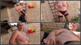British horny granny Caroline playing outside HD